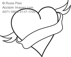 300x240 Heart With Banner Clipart