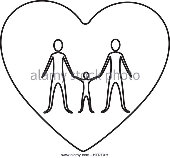 578x540 Father Child Son Drawing Heart Black And White Stock Photos