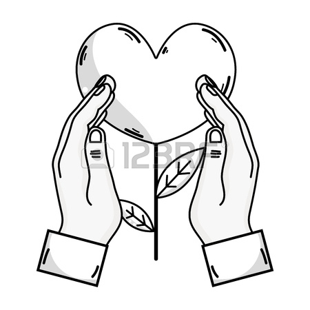 450x450 Outline Drawing Of Hand Holding Heart Shape Plant