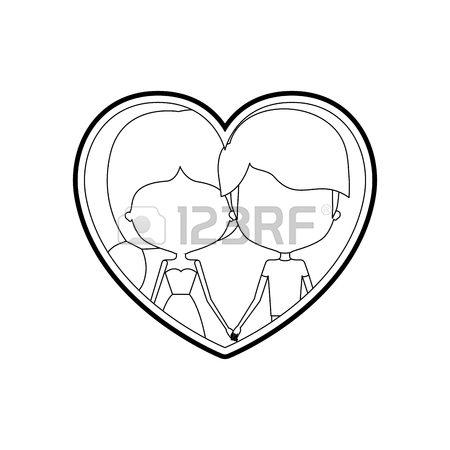 450x450 Sketch Silhouette Heart Shape With Caricature Faceless Couple Man