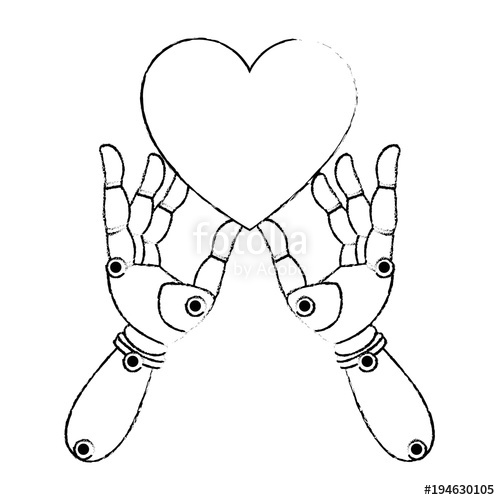 500x500 Robot Hands With Heart Vector Illustration Design Stock Image