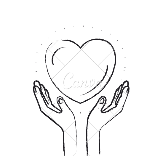 550x550 Blurred Silhouette Hands With Floating Heart Charity Symbol