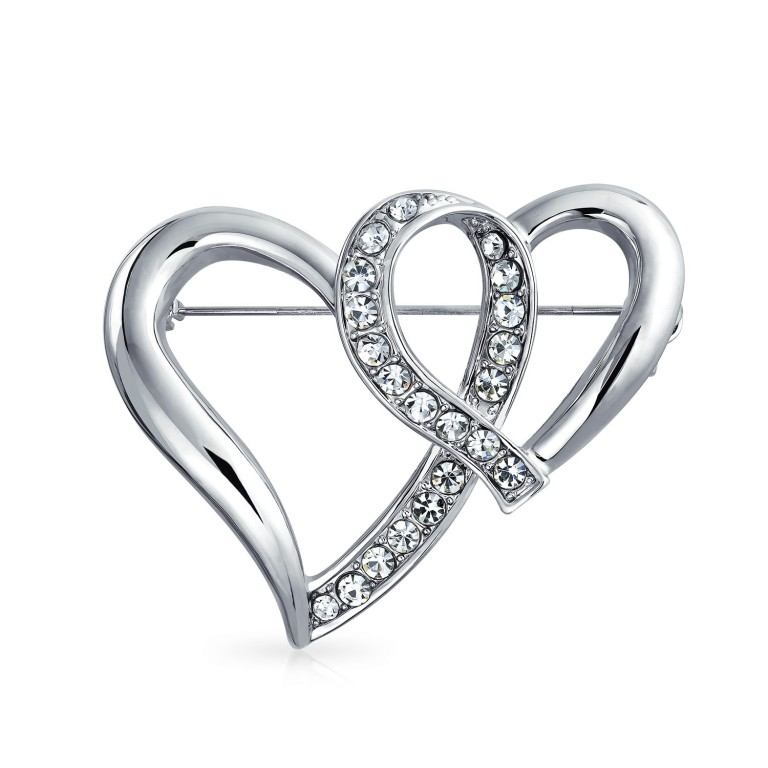 768x768 Double Open Ribbon Hearts Crystal Valentines Brooch Pin