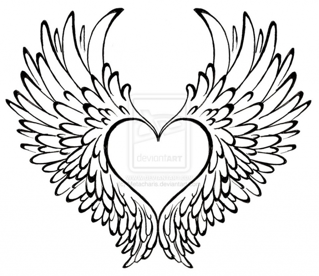 1024x886 Drawing Of Heart Wings Speed Drawing How To Draw A Heart