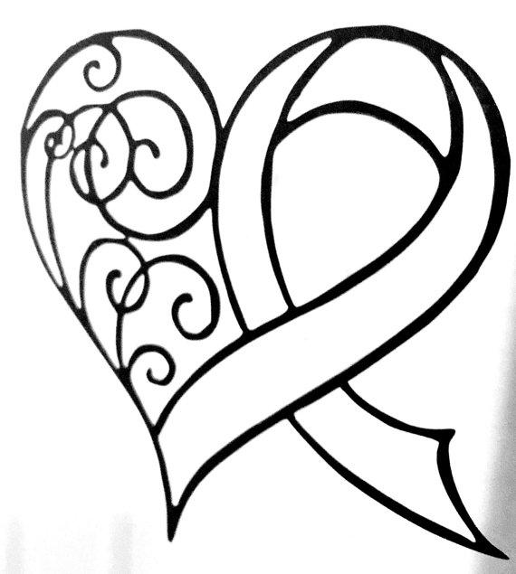 570x635 Drawing Of Ribbon With Heart Tattoo Pictures To Pin
