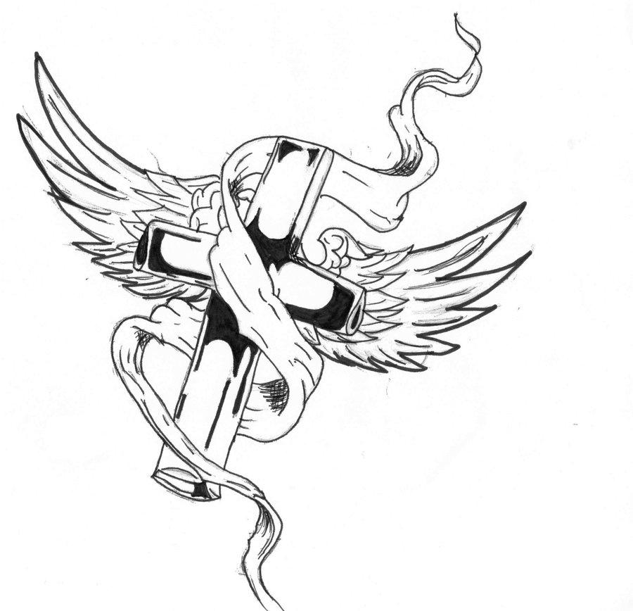 900x868 Drawn Cross Ribbon