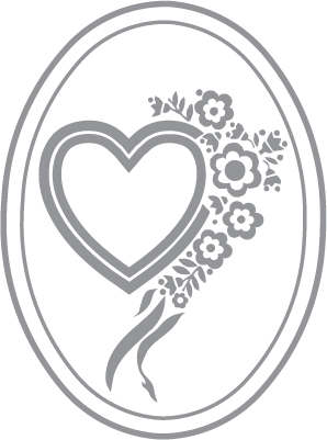 298x401 Glass Etching Stencil Of Valentine Heart With Flowers, Ribbon