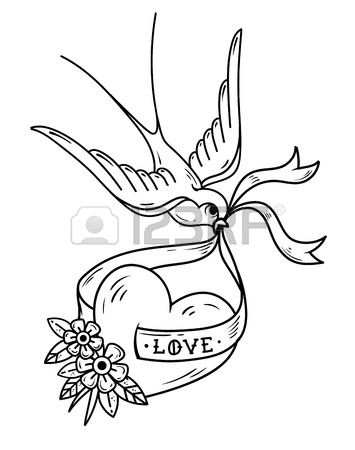 355x450 Swallow Carries Over Red Heart On Ribbon With Lettering Love