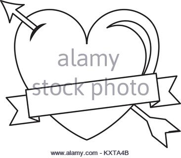 366x320 Greeting I Love You Heart Arrow Ribbon Outline Vector Illustration