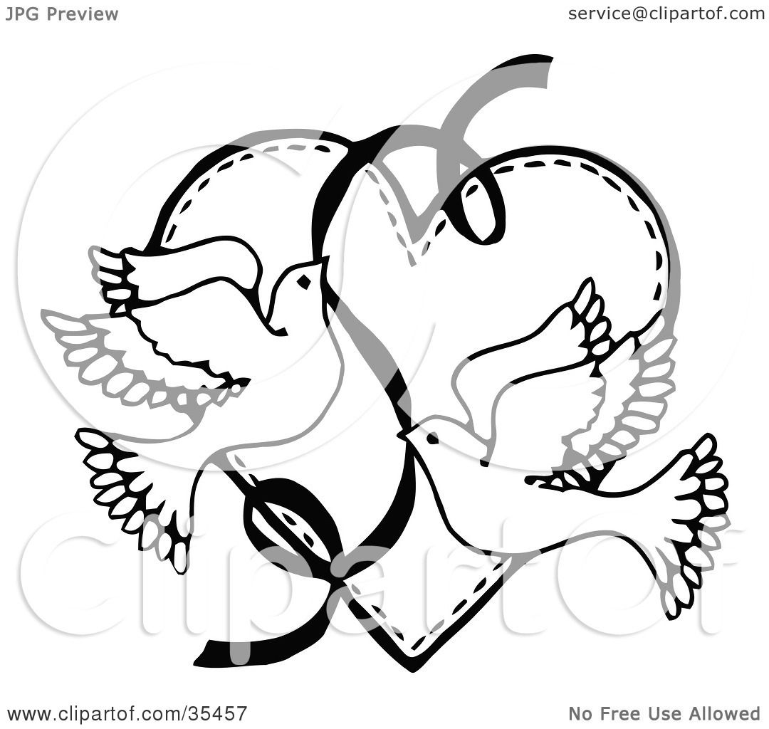1080x1024 Clipart Illustration Of Two Flying Doves With Ribbon Over