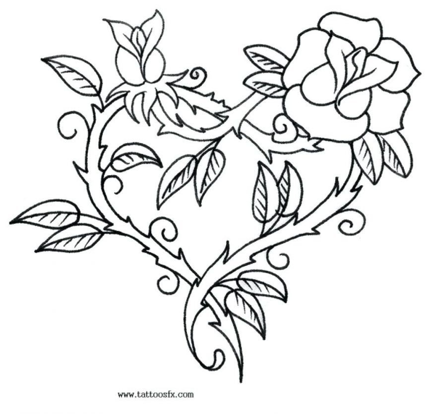 863x836 Coloring Pages Of Cool Hearts And Rose Ribbon Printable Enjoy