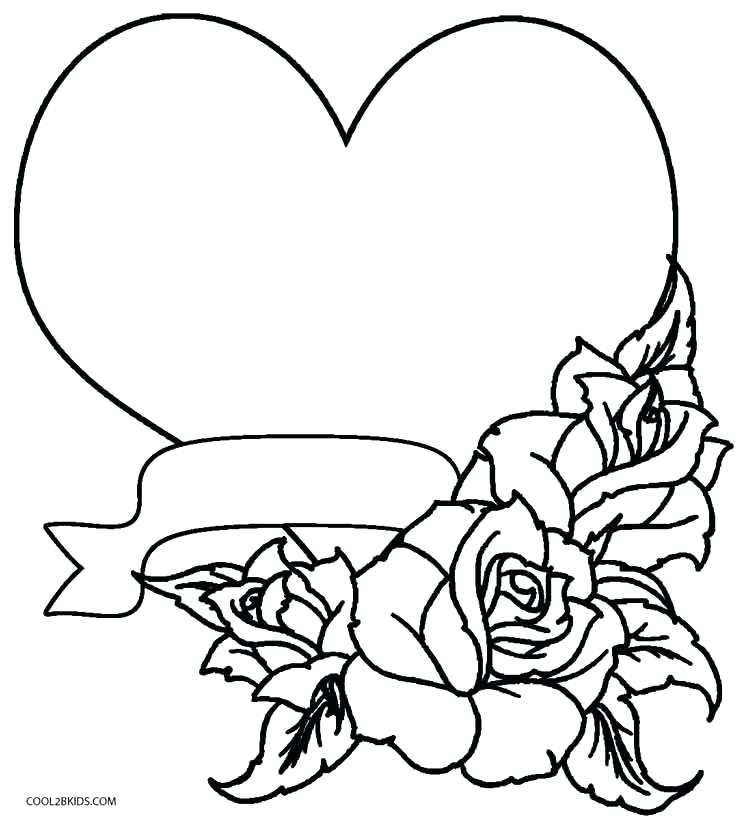 745x820 Coloring Roses Hearts Roses Hearts And Roses Tied With Ribbon