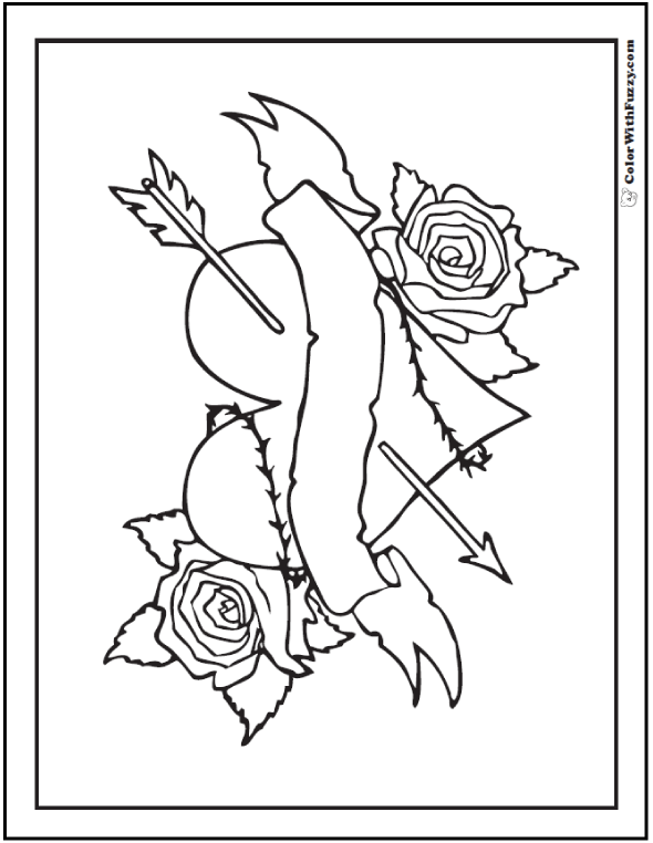 Heart With Rose Drawing