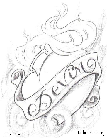 365x468 Drawn Flames Burning Heart