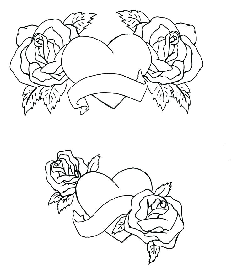 736x861 Epic Heart And Rose Coloring Pages Image Hearts Roses Draw A
