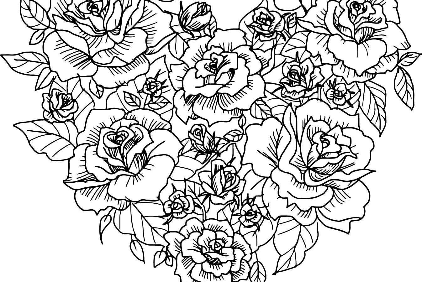 Heart With Roses Drawing