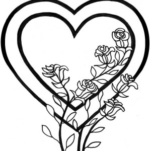 300x300 Hearts And Roses With Sharp Thorn Coloring Page Hearts And Roses