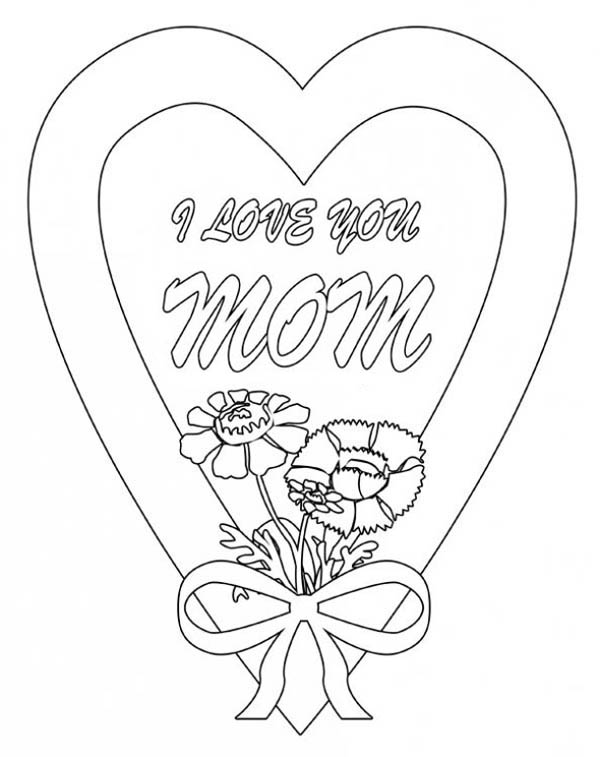 600x757 I Love You Mom In Hearts And Roses Coloring Page Color Luna