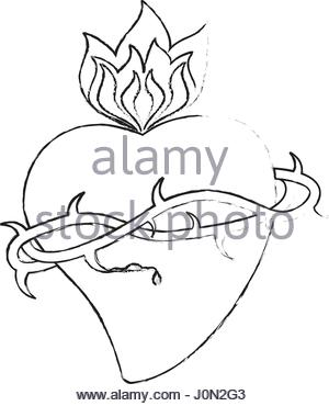 300x370 Illustration Of The Most Sacred Heart Of Jesus. A Bleeding Heart