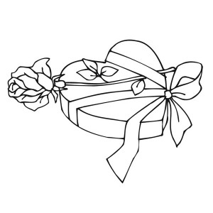 300x300 Valentine Present Of Hearts And Roses Coloring Page Color Luna