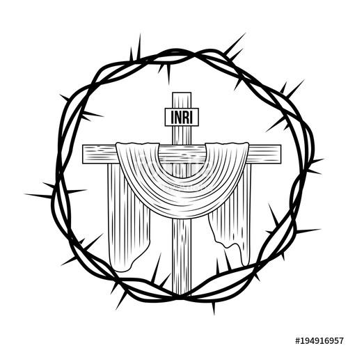500x500 Engraving Sacred Cross Crown Thorns Vector Illustration Stock