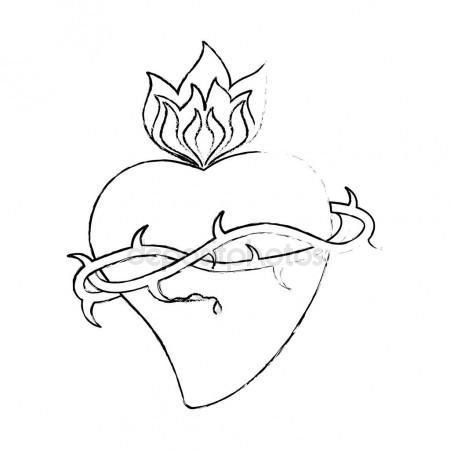 450x450 Sacred Heart Crown Thorns Sketch Stock Vector Jemastock