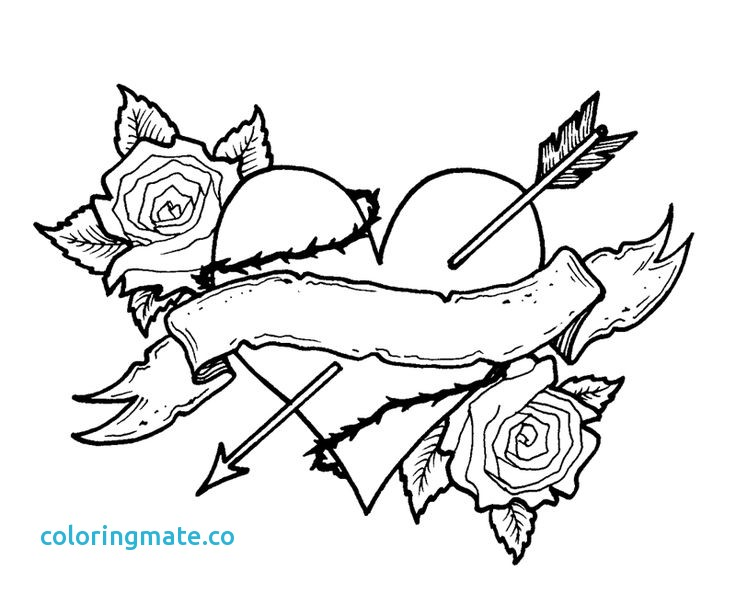 736x593 Coloring Pages Roses Fresh Rose Heart Line How To Draw A Heart