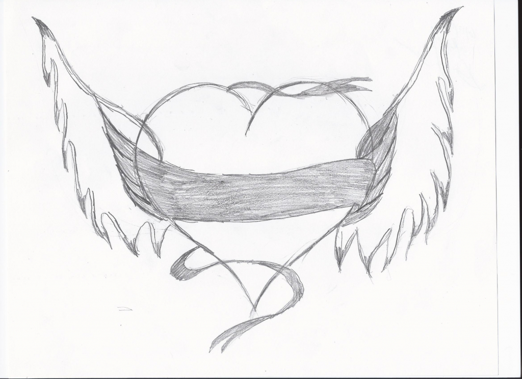 1024x744 Drawing Of A Heart With Wings