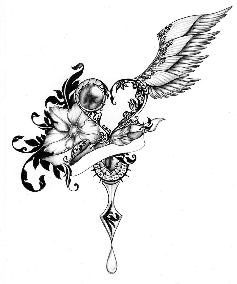 816x979 Drawing Of Hearts With Wings Heart With Wings Drawing