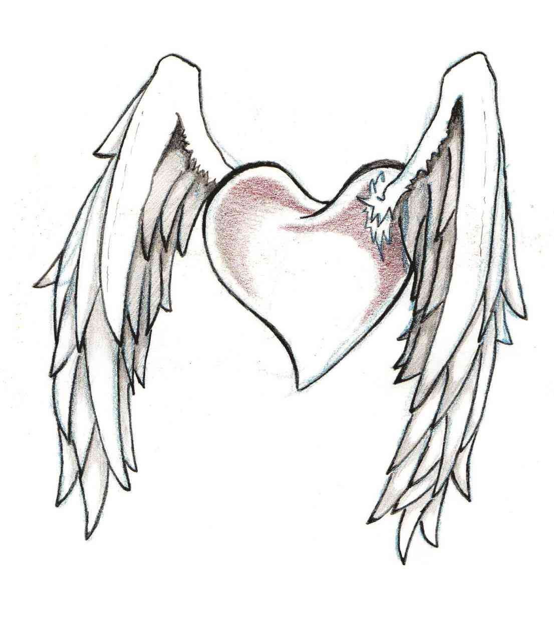 1106x1264 Heart With Rose And Wings Drawings Freespywarefixescom