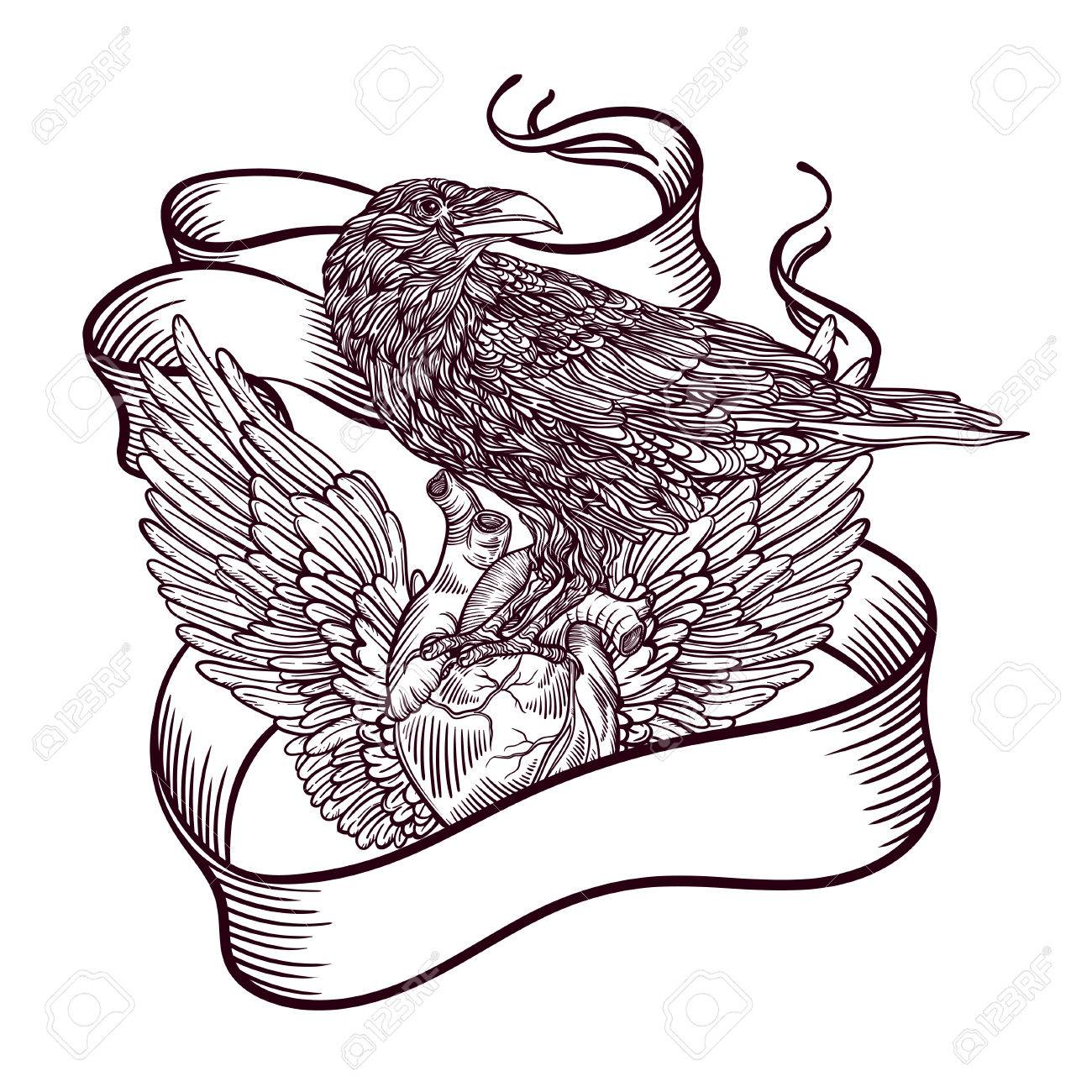 1300x1300 Line Art Illustration Of Angel Wings And Heart And Bird Raven