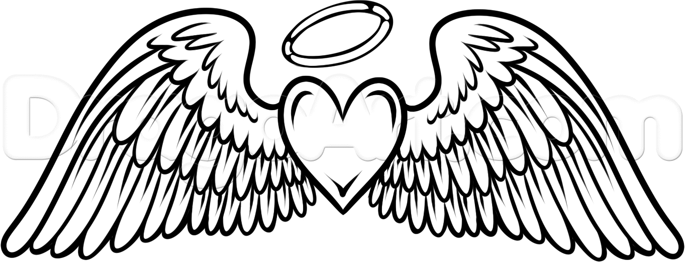 1363x521 This Angel Wings With Heart Amp Halo Tattoo, Dedication To My