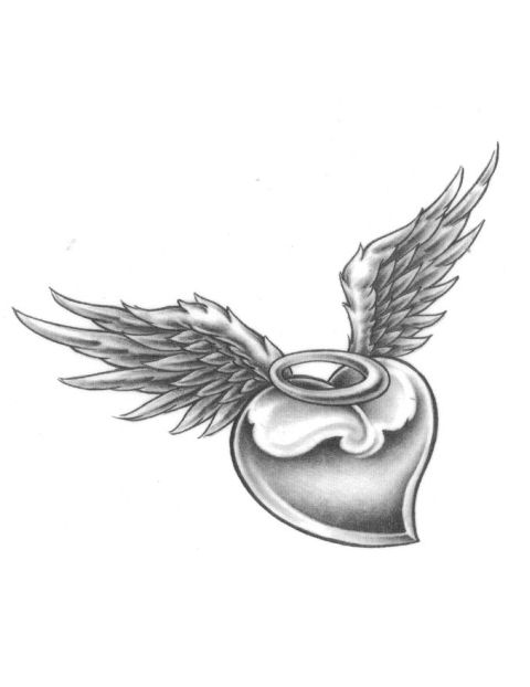 480x622 Black Angel Wing With Broken Halo Tattoos Heart With Halo