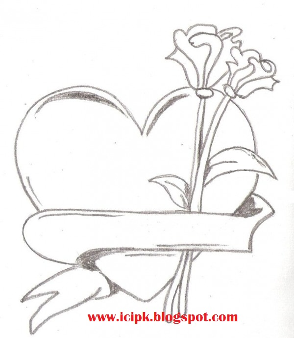 600x688 Heart With Flower Pencil Drawing