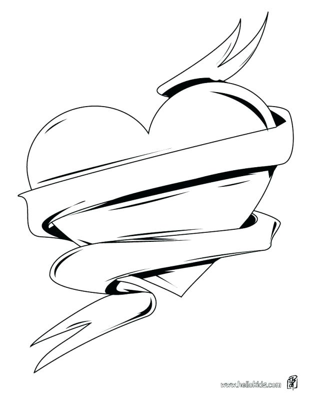 618x799 Hearts With Wings Coloring Pages Omnitutor.co