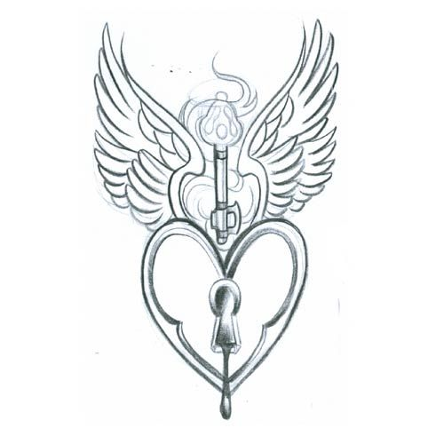 500x500 Collection Of Lovely Heart Lock With Wings Tattoo Design