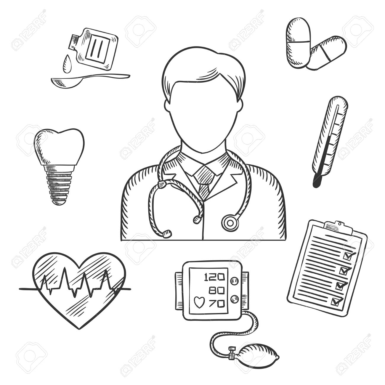 1300x1300 Hand Drawn Medical Icons With A Doctor Surrounded By A Thermometer