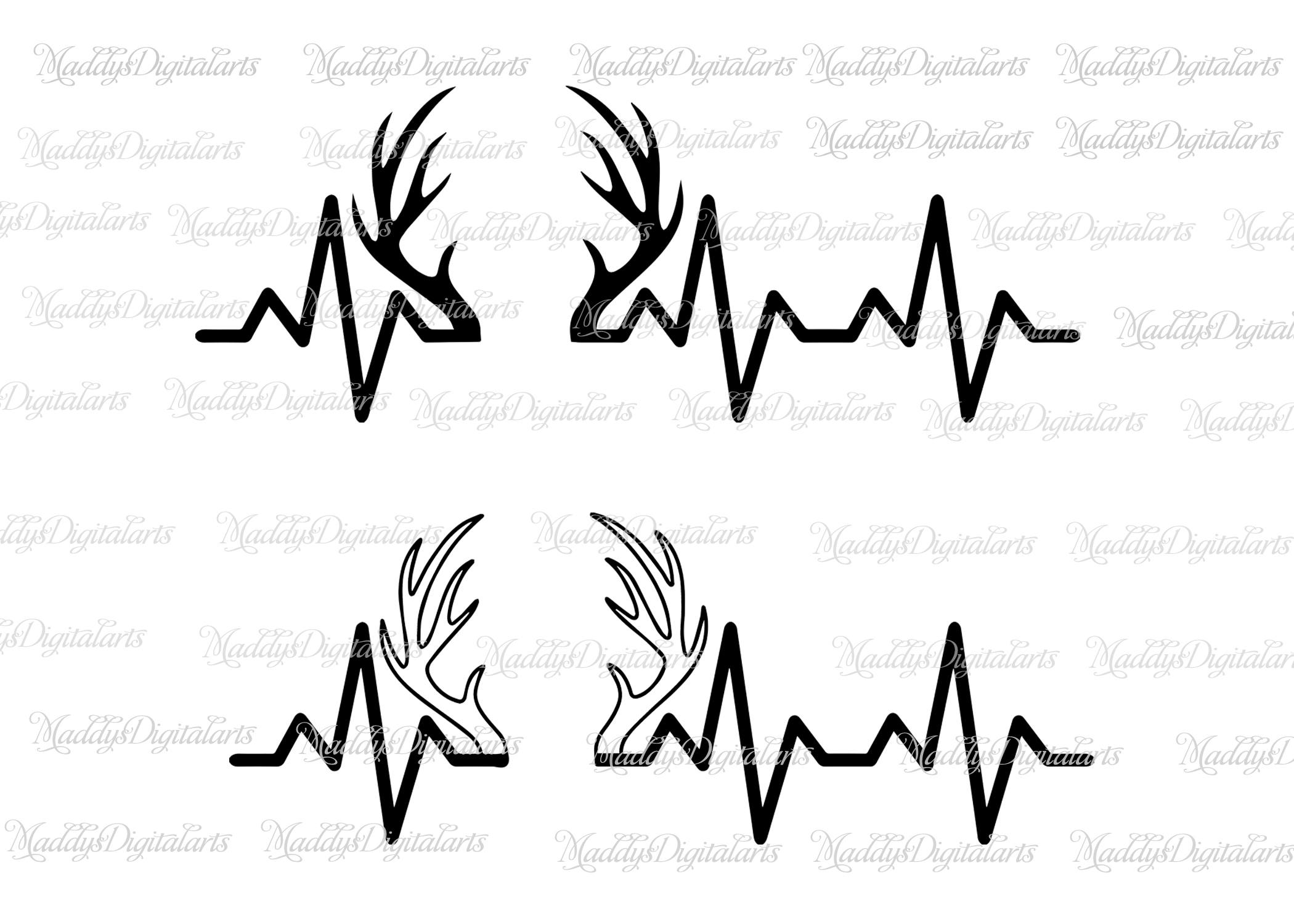 2100x1500 Heartbeat Horns Deer Svg Cutting File, Hunting Svg Heartbeat Buck
