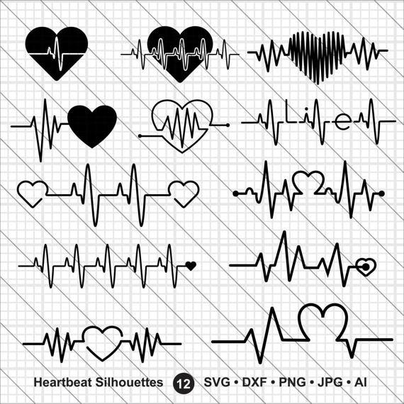 570x570 Heartbeat Silhouettes Svg Nurse Svgheartbeat Svg Cut