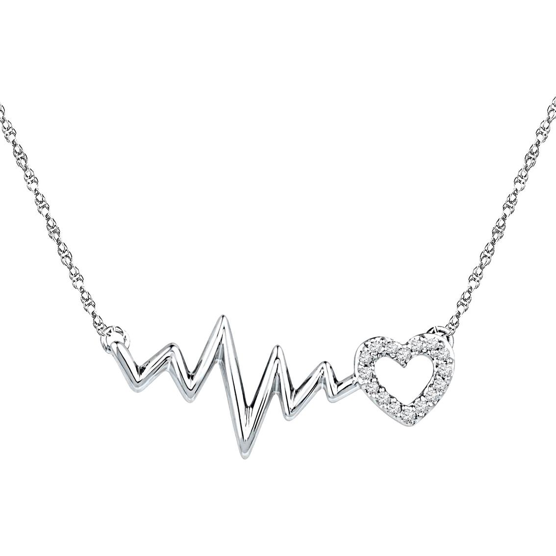 1134x1134 Sterling Silver Diamond Accent Heartbeat Necklace Diamond Heart