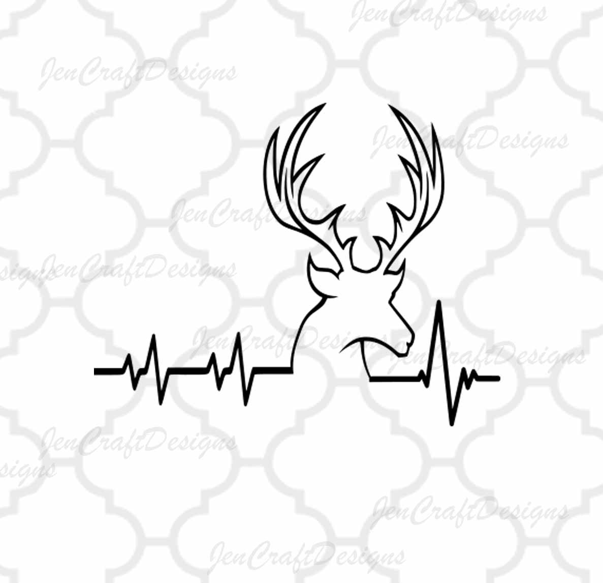 1187x1146 Deer Svg Cutting File Hunting Svg Heartbeat Buck Svg Png