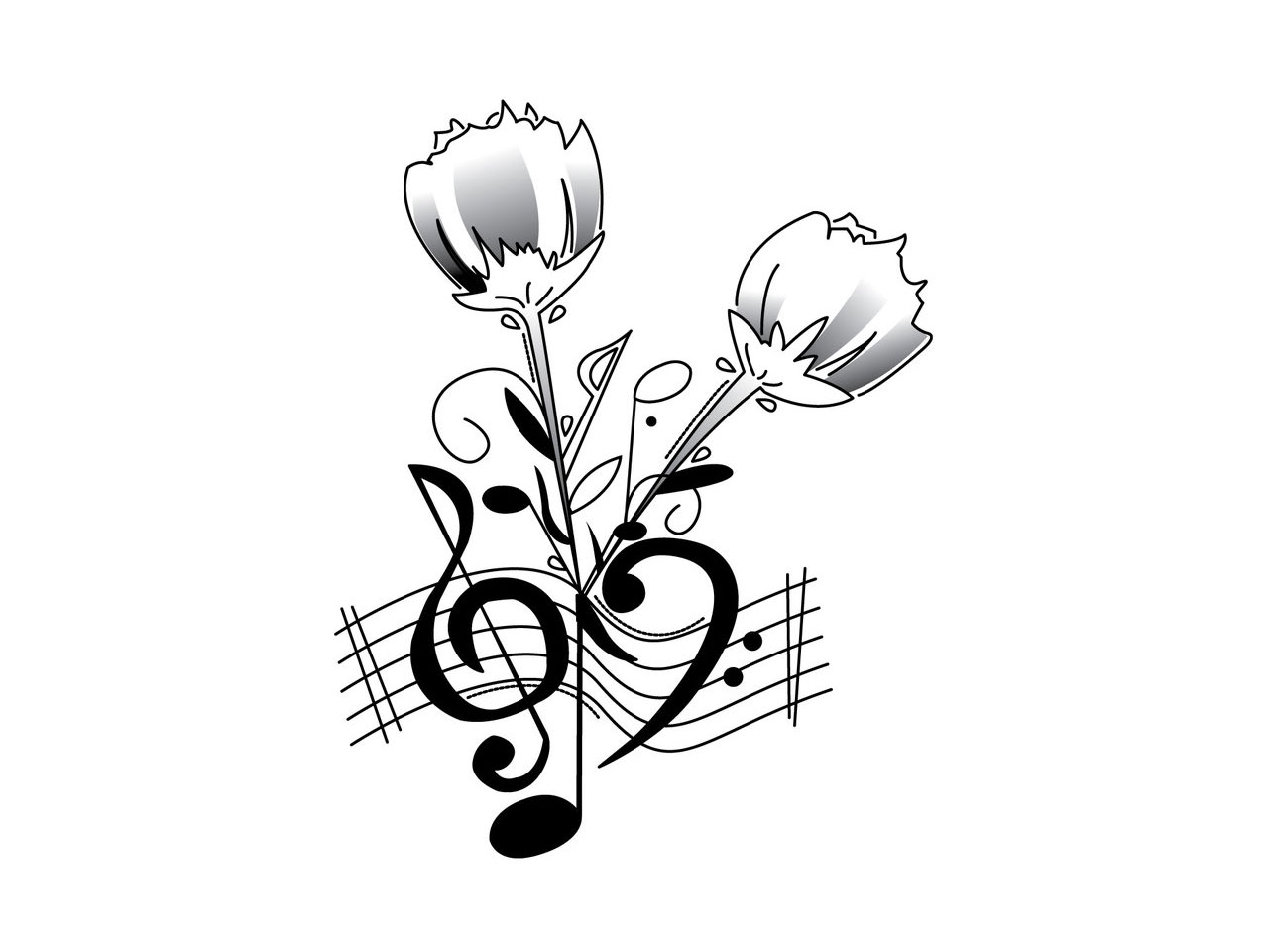1280x960 Music Notes Heart Background Wallpaper I Hd Images