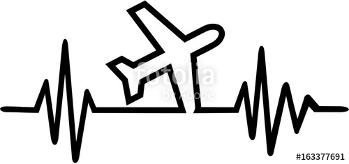 500x235 Pilot Plane Heartbeat Line Stock Image And Royalty Free Vector