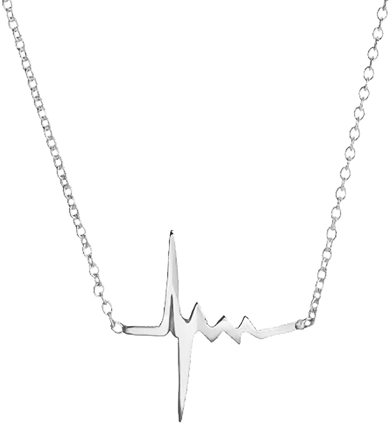1368x1500 925 Sterling Silver Heartbeat Pendant Necklace Chain