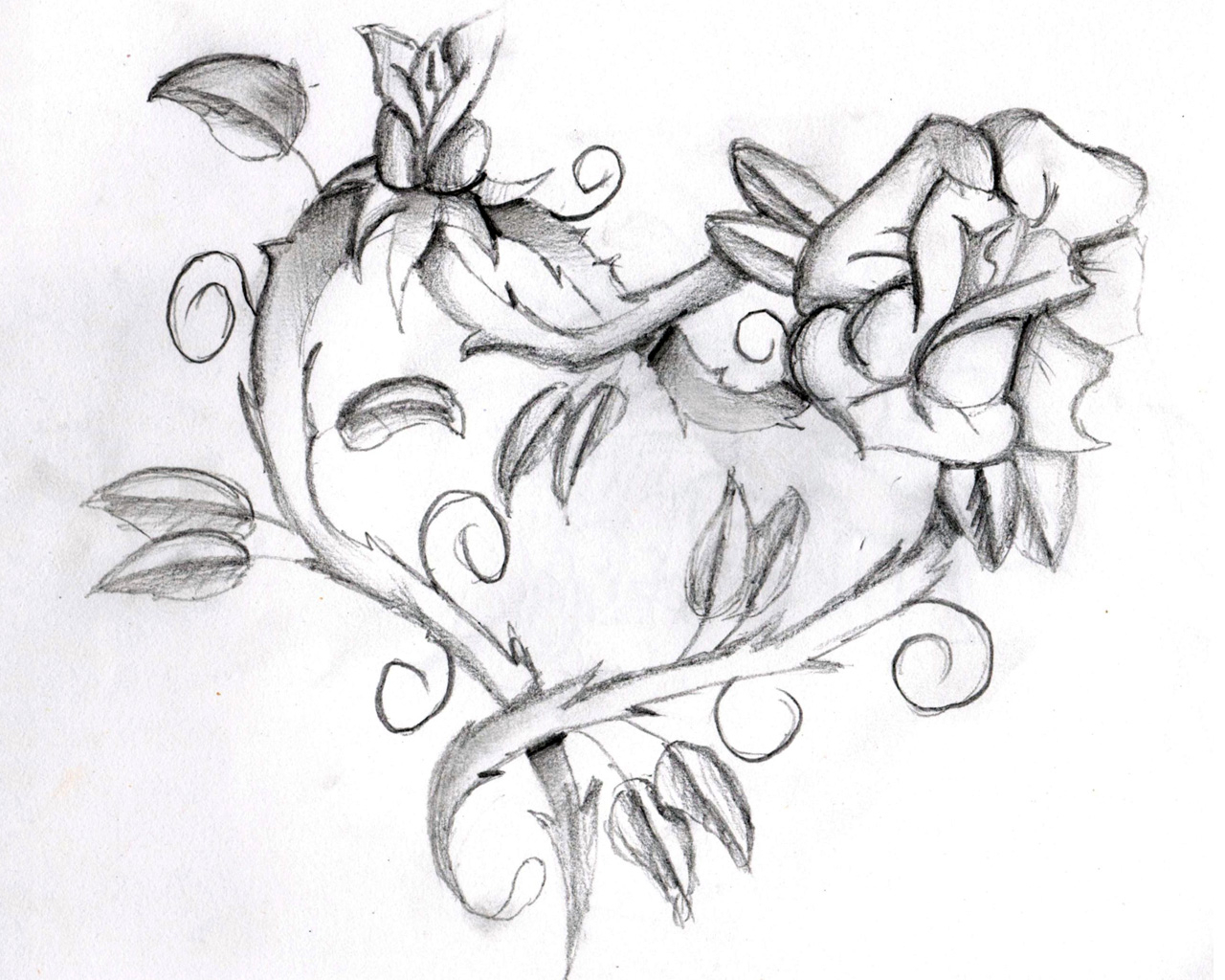 1280x1024 Drawings Of Flowers And Hearts Flowers And Hearts Tattoos