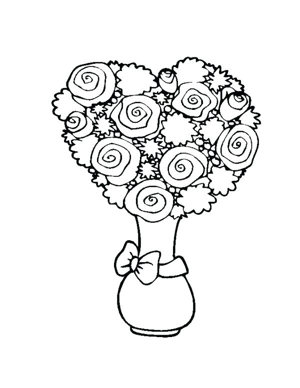 600x777 Hearts And Flowers Coloring Pages Flower Bouquet Shaped Heart