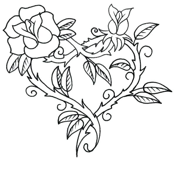 600x581 Coloring Pages Flowers Hearts Flower Hearts Roses