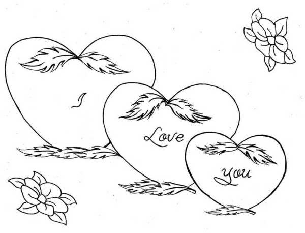 Hearts And Flowers Drawing At GetDrawings.com