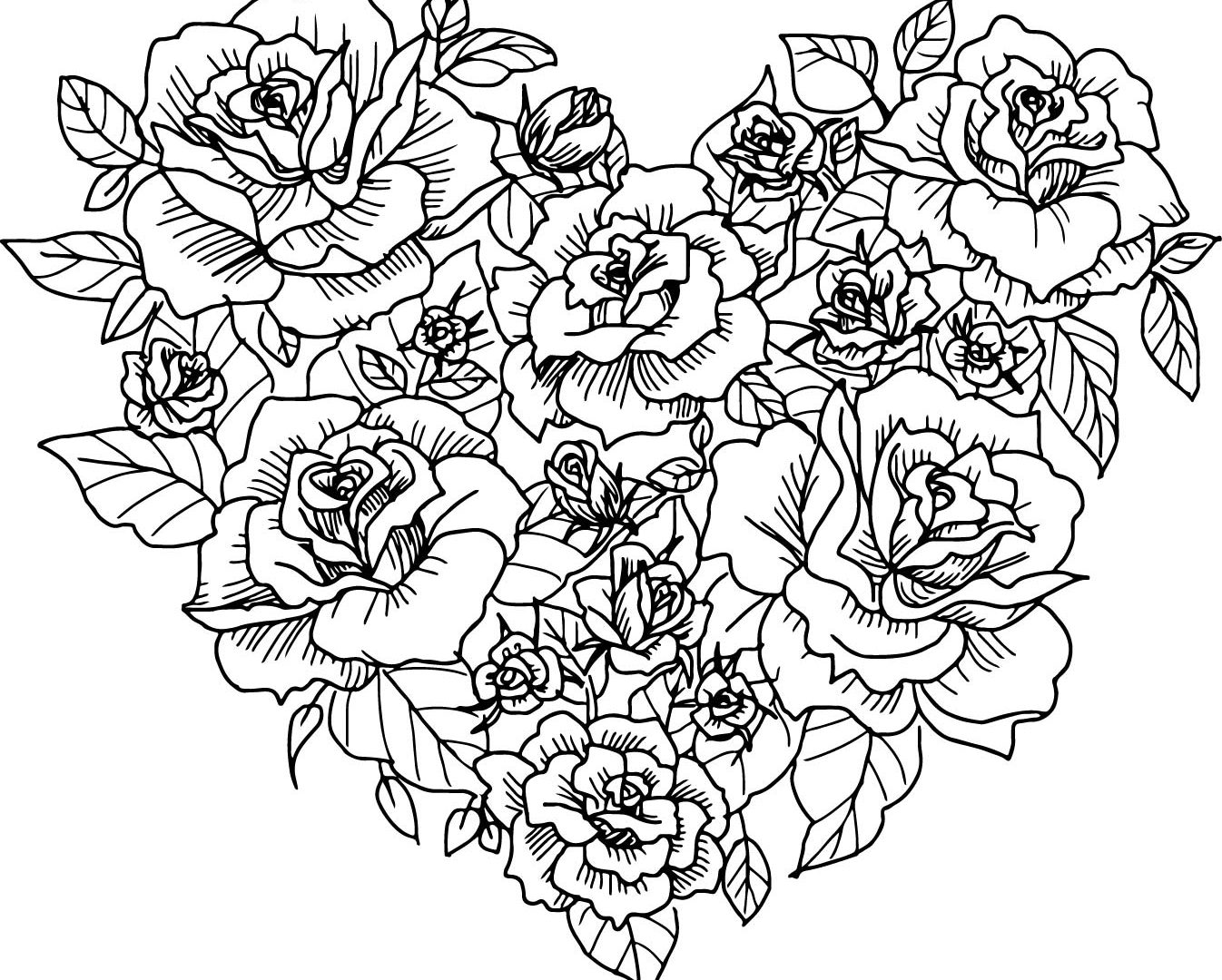Hearts and roses drawing at free for for Free rose coloring pages