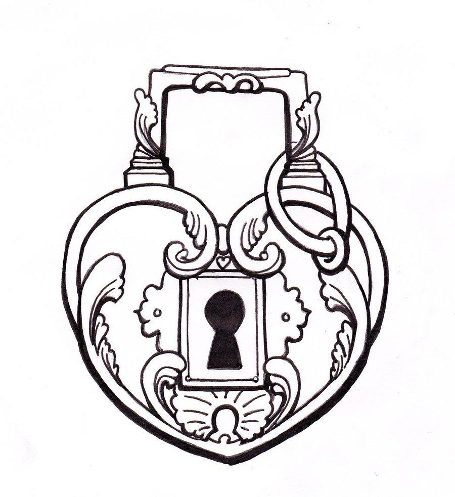 900x983 Lock And Key Drawing Real Heart Drawing Clipart Panda